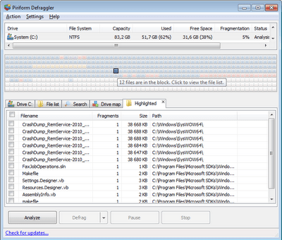 Defraggler is a nice tool used to optimize windows performance
