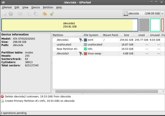 GParted partition software
