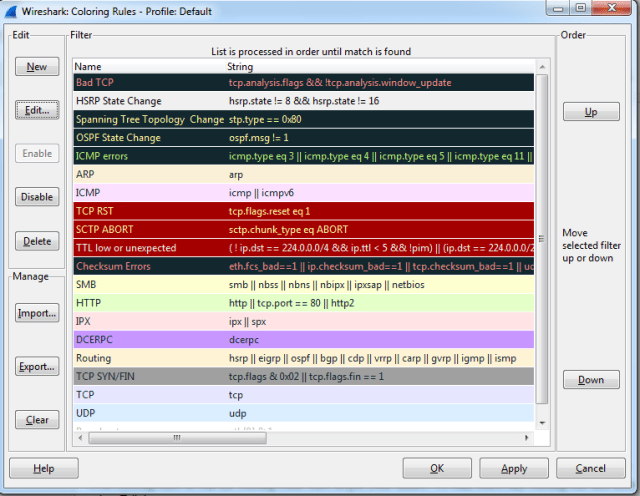 Wireshark Coloring rules