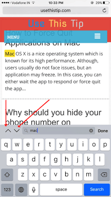 search a text on webpage in Safari for iOS 9
