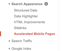 Accelerated Mobile Pages in search console
