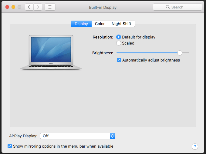 setup and use night Shift in MacOS