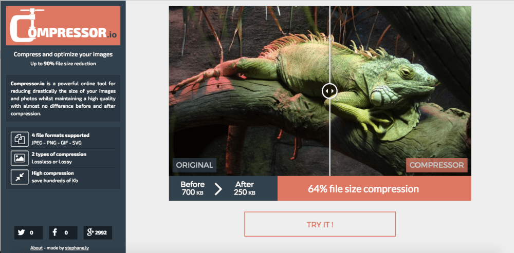 compressor.io Image optimization tool