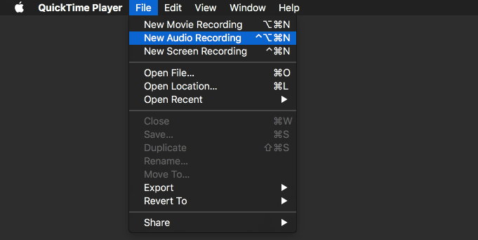 Recording Sound in MacOS with QuickTime Player