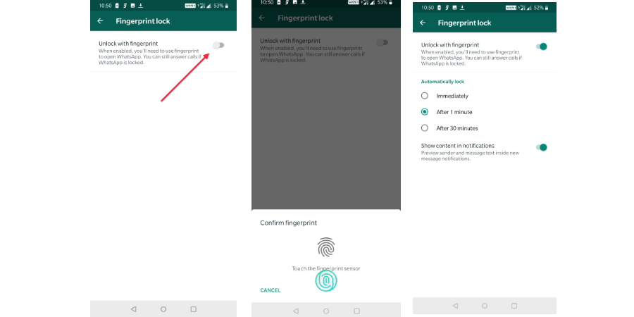 Set up fingerprint lock on WhatsApp for Android
