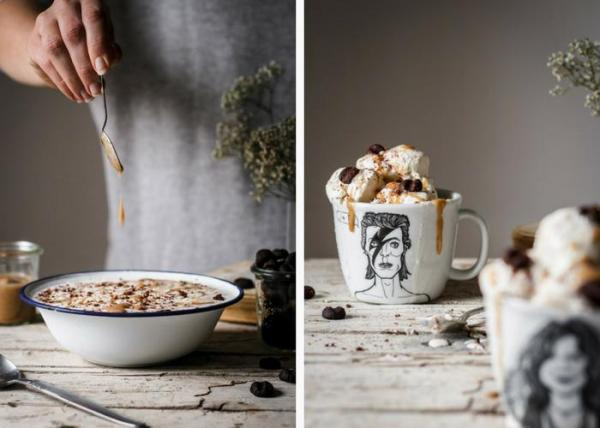 Crunchy Mocha Frozen Yogurt with Date Caramel Use Your