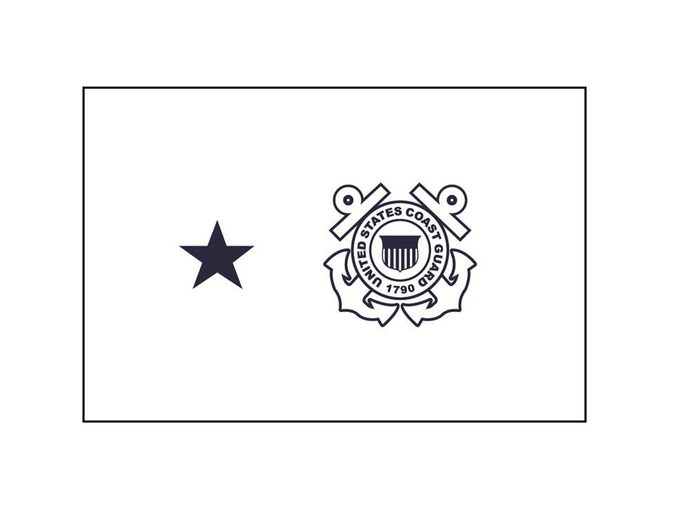 2ft. x 3 ft. USCG 1 Star Rear Admiral Non Sea-going Flag H&G