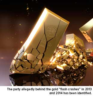 "The Partyallegedly behind the gold ""flash crashes"" in 2013 and 2014 has been identified."