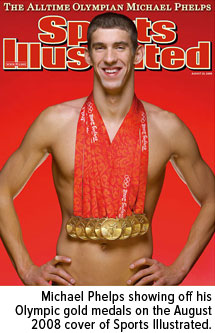 Michael Phelps showing off his Olympic gold medals on the August 2008 cover of Sports Illustrated