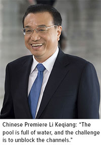 chinese premiere li keqiang: the pool is full of water and the challenge is to unblock the channels.