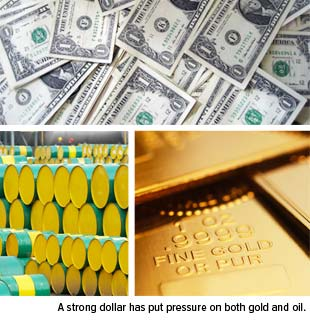 strong dollar has put pressure on both gold and oil