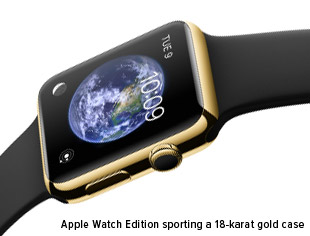 Apple Watch Edition sporting a 18-karat gold case