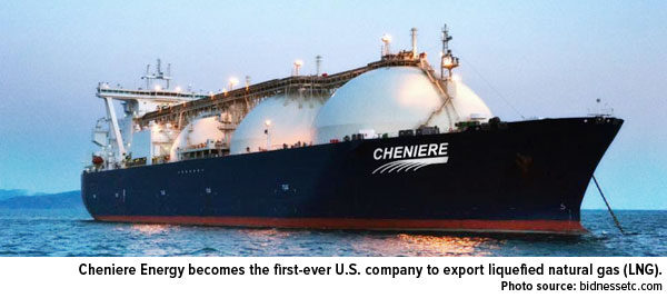 Cheniere Energy becomes the first-ever U.S. company to export liquified natural gas (LNG).