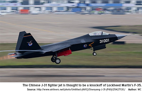 The Chinese J31 fighter jet is thjought to be a knockoff of Lockheed Martins F35