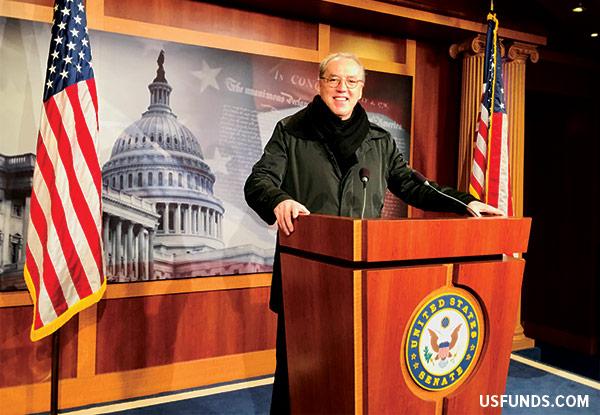 Frank in Washington at the Senate Press room