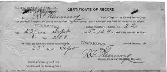 Marshall County Archives~ Land and Deed Records