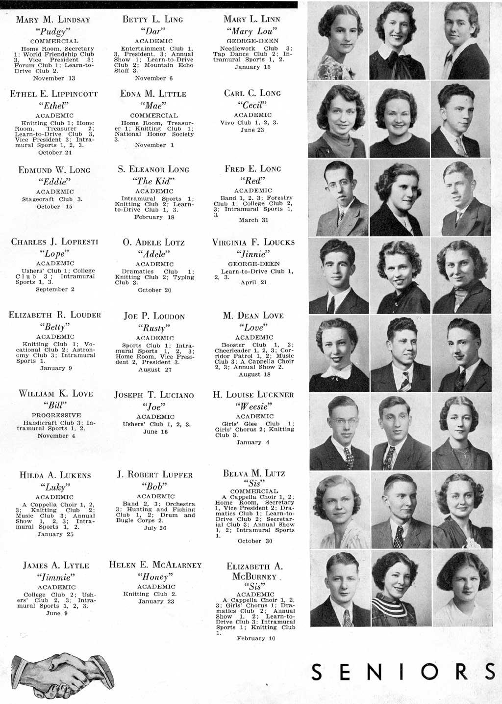 Altoona High School 1938 Horseshoe, Blair County PA