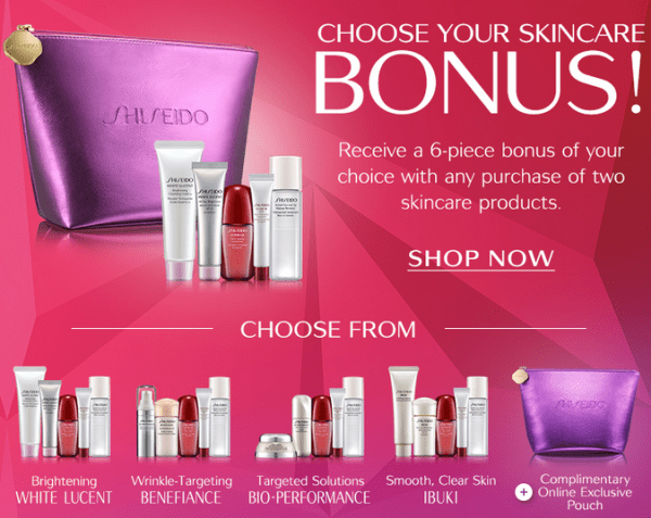 Shiseido gift with purchase – 6 pcs with any 2 skincare products purchase