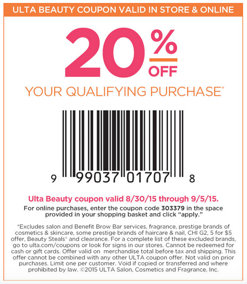 graphic about Ulta 5 Off 10 Printable Coupons called Ulta 20% off finish purchase + 16 computer systems natural beauty bag w/$50 order