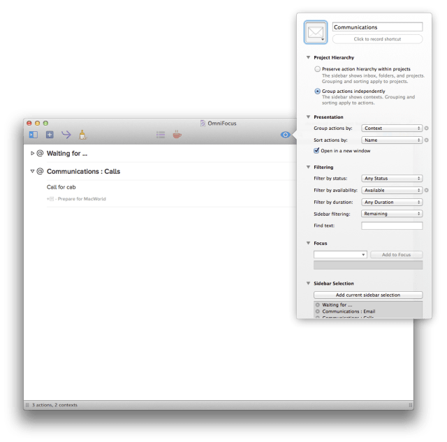Accessing perspective settings - OmniFocus 2