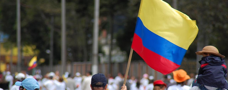 Colombian flag in a march