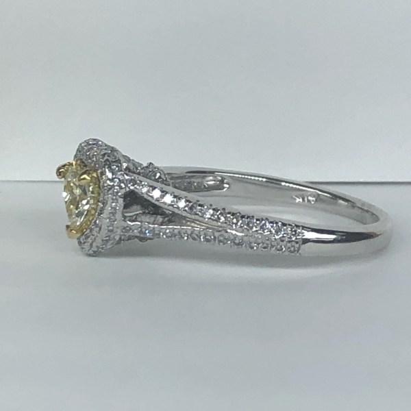 Petite 1 Carat Heart Shaped Yellow Diamond Ring 18k White Gold