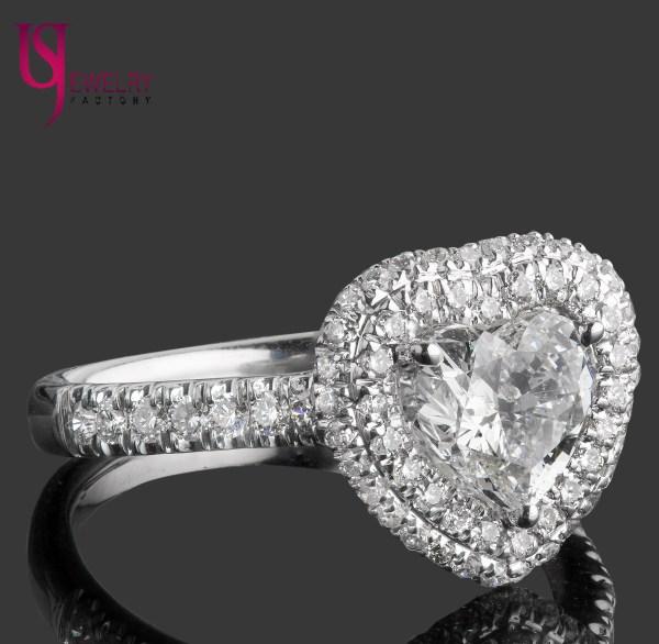 1.72 Carat Heart Shaped Diamond Engagement Ring Double Halo 18k White Gold Band
