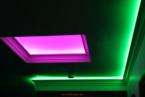 small resolution of skylight with rgb led strips facing up