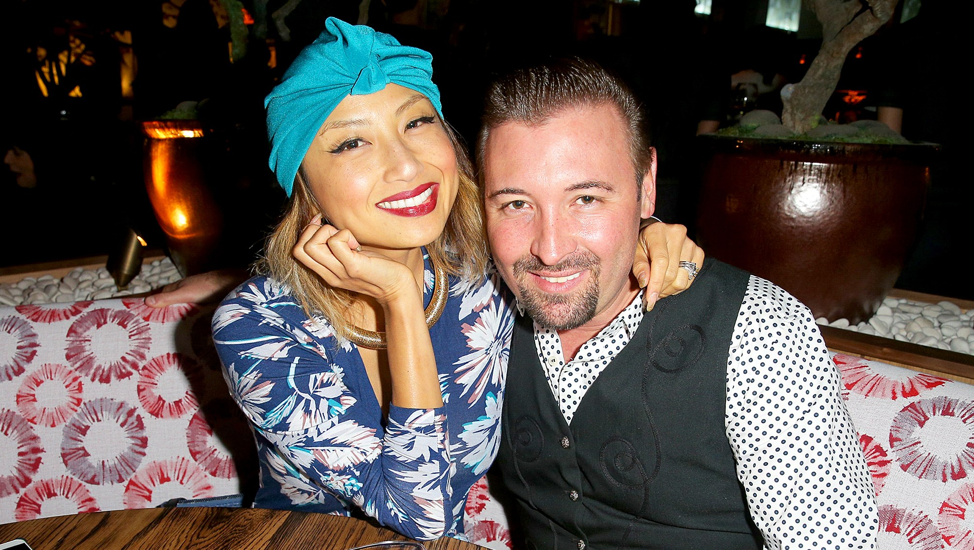 Jeannie Mai and Freddy Harteis attend the Roku grand opening on November 14, 2015 in West Hollywood, California.