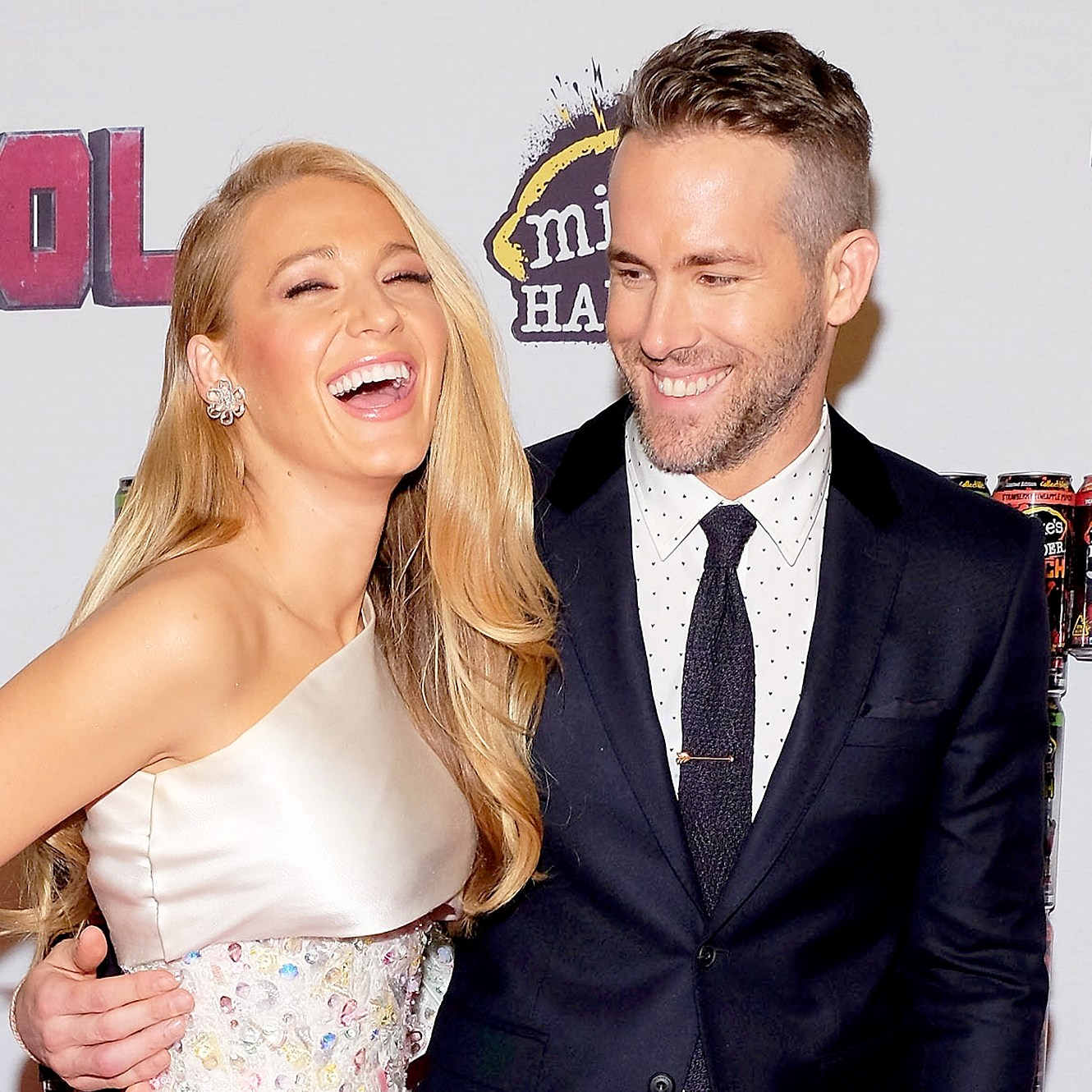 "Blake Lively and Ryan Reynolds attend the ""Deadpool"" fan event at AMC Empire Theatre on February 8, 2016 in New York City."