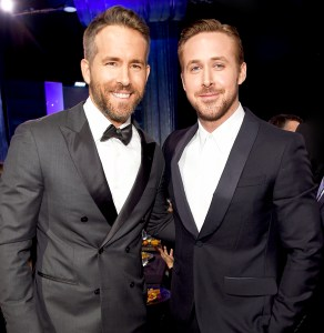 Ryan Reynolds and Ryan Gosling attend The 22nd Annual Critics' Choice Awards at Barker Hangar on December 11, 2016 in Santa Monica, California.