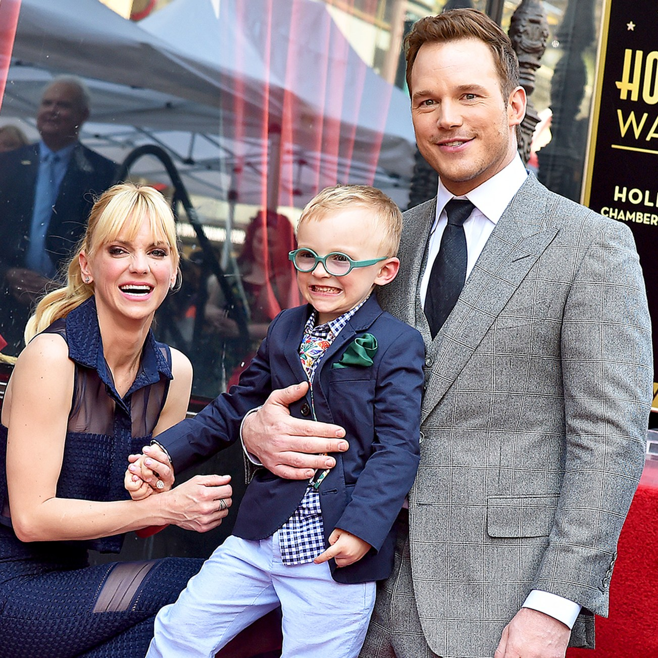 Anna Faris, Chris Pratt and their son Jack attend the ceremony honoring Chris Pratt with a star on the Hollywood Walk of Fame on April 21, 2017 in Hollywood, California.