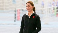 Catherine, Duchess of Cambridge plays tennis as she visits the Lawn Tennis Association at National Tennis Centre on October 31, 2017 in London, England.