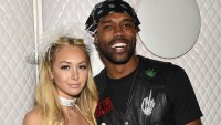 DeMario Jackson and Corinne Olympios arrive at the 2017 MAXIM Halloween Party