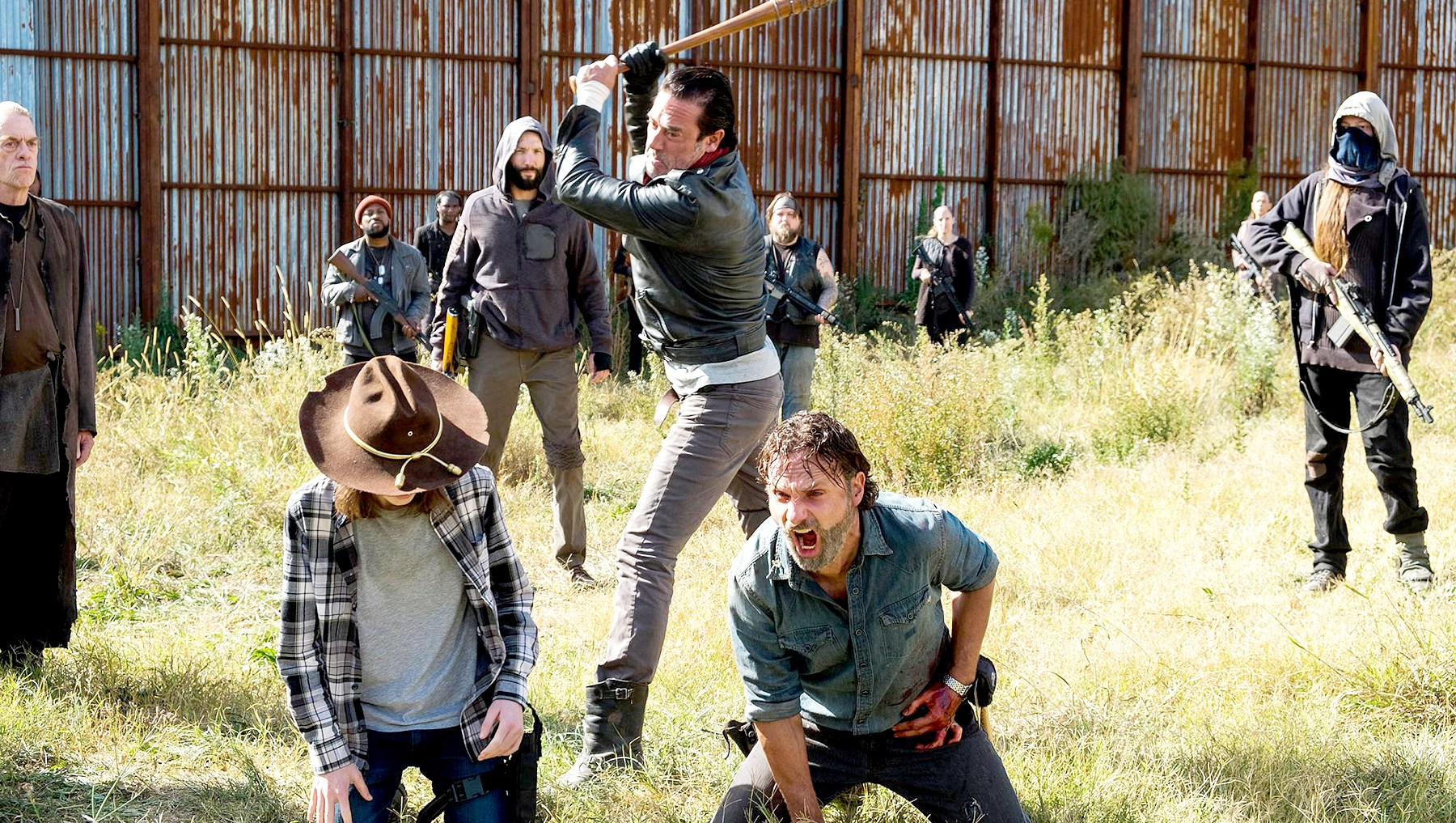 Andrew Lincoln as Rick Grimes, Chandler Riggs as Carl Grimes, Jeffrey Dean Morgan as Negan on The Walking Dead.