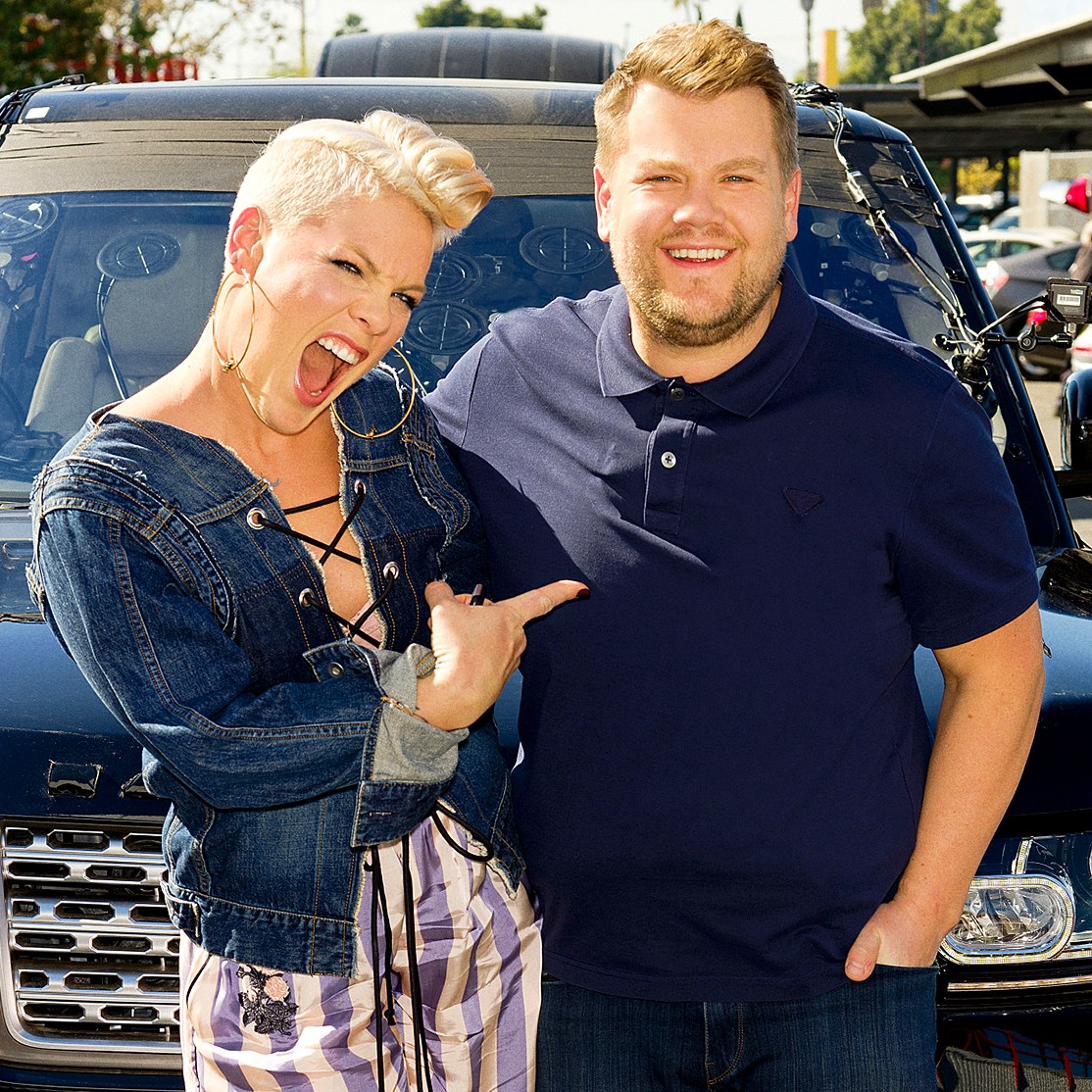 Pink performs in a Carpool Karaoke during 'The Late Late Show with James Corden'