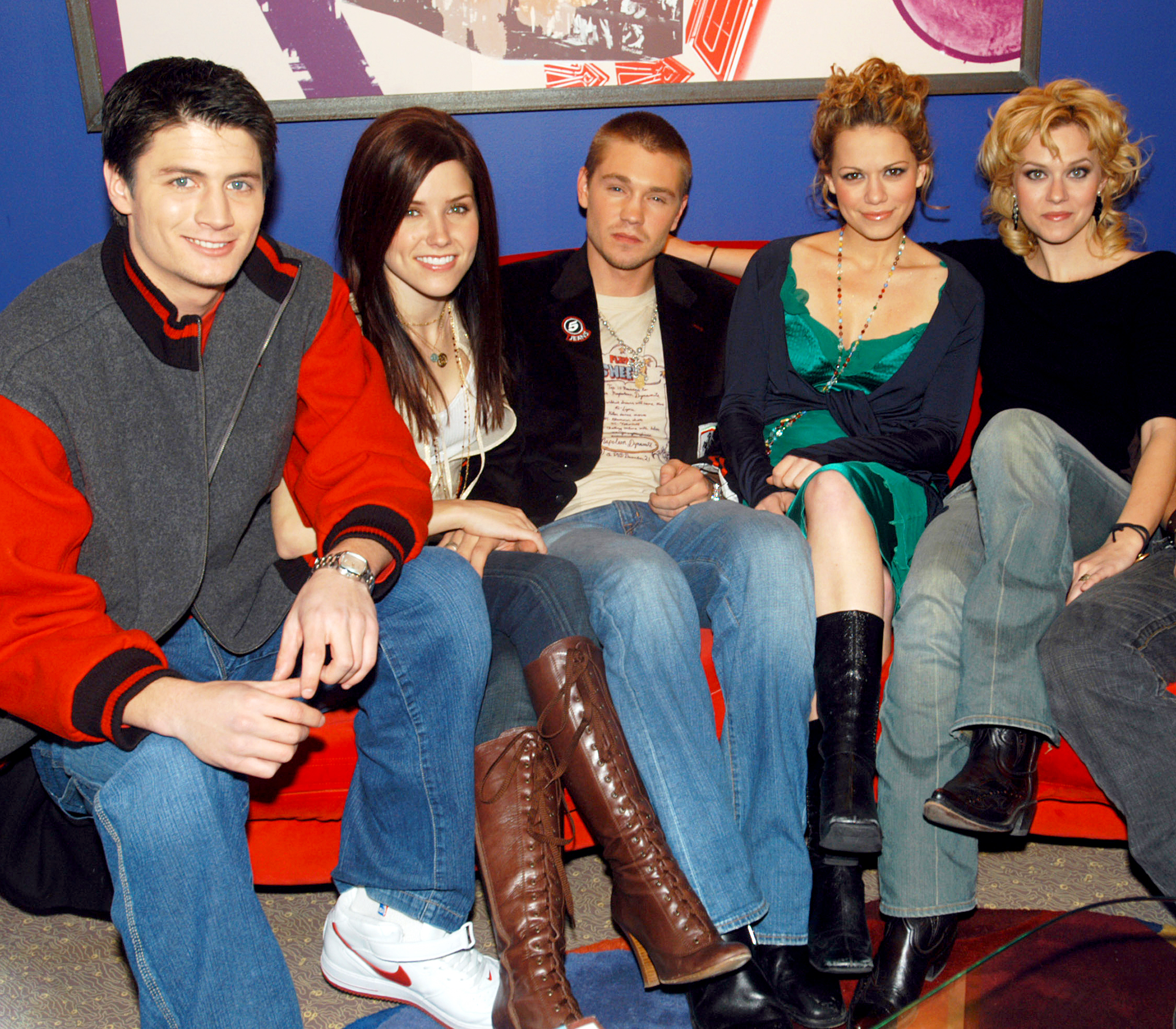James Lafferty Sophia Bush Chad Michael Murray Bethany Joy Lenz and Hilarie Burton of 'One Tree Hill' cast on MTV's TRL in 2005