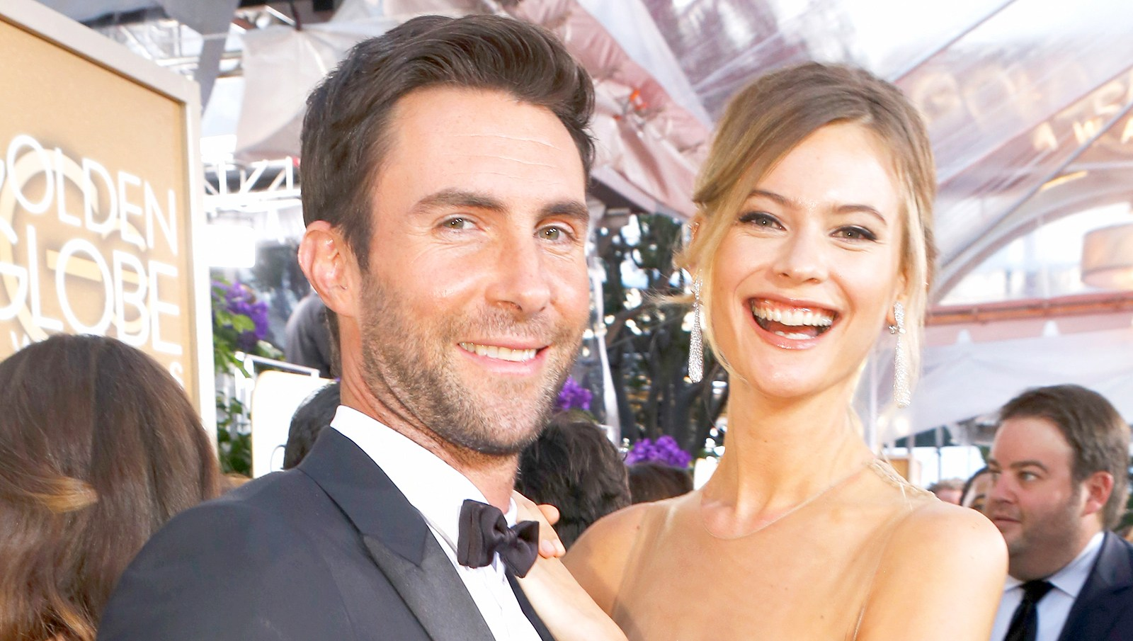 Adam Levine and model Behati Prinsloo arrive to the 72nd Annual Golden Globe Awards held at the Beverly Hilton Hotel.