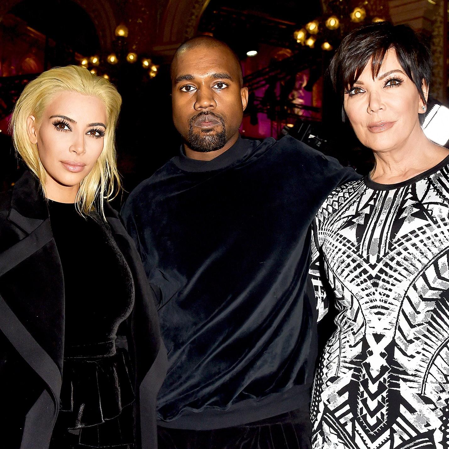 Kim Kardashian, Kanye West and Kris Jenner attend the Balmain show during Paris Fashion Week Womenswear Fall/Winter 2015/2016 in Paris, France.