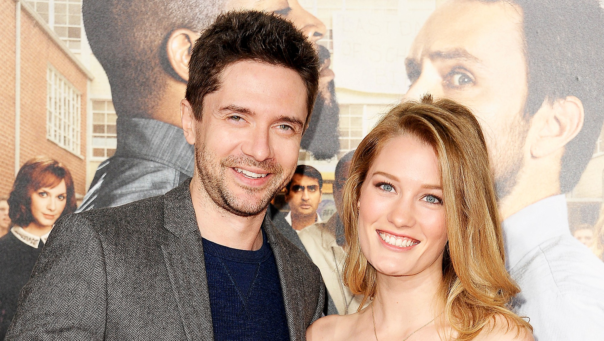 "Topher Grace and wife Ashley Hinshaw attend the premiere of ""Fist Fight"" at Regency Village Theatre on February 13, 2017 in Westwood, California."