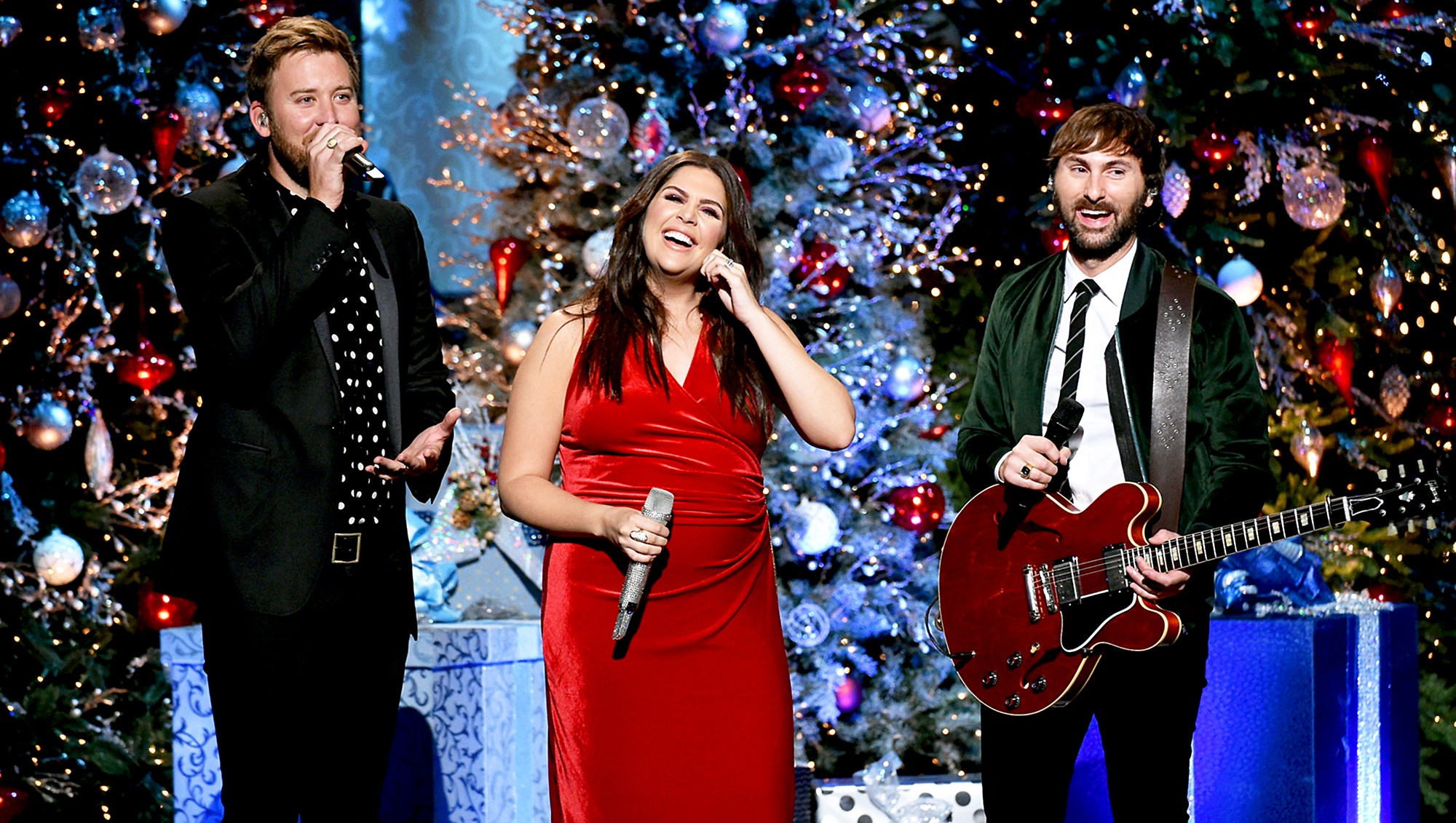 Charles Kelley, Hillary Scott and Dave Haywood of Lady Antebellum perform onstage for CMA 2017 Country Christmas at The Grand Ole Opry on November 14, 2017 in Nashville, Tennessee.