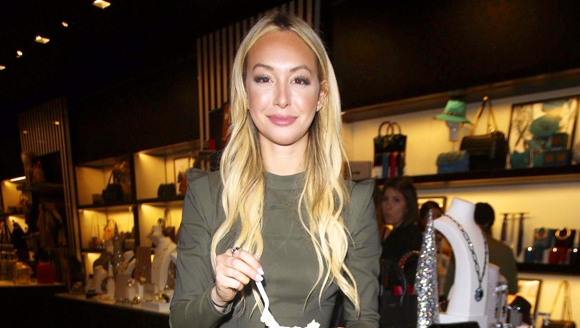 Corinne Olympios celebrates her birthday at the Henri Bendel store on November 9, 2017 in Beverly Hills, California.