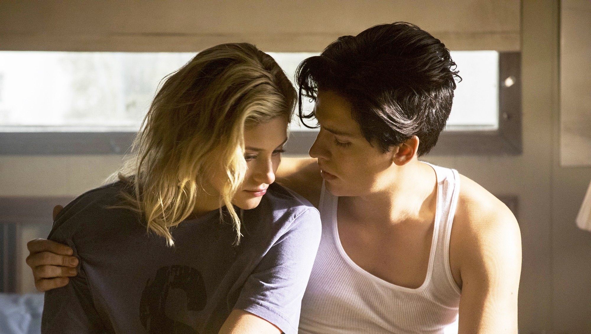 Lili Reinhart as Betty Cooper and Cole Sprouse as Jughead Jones on 'Riverdale'