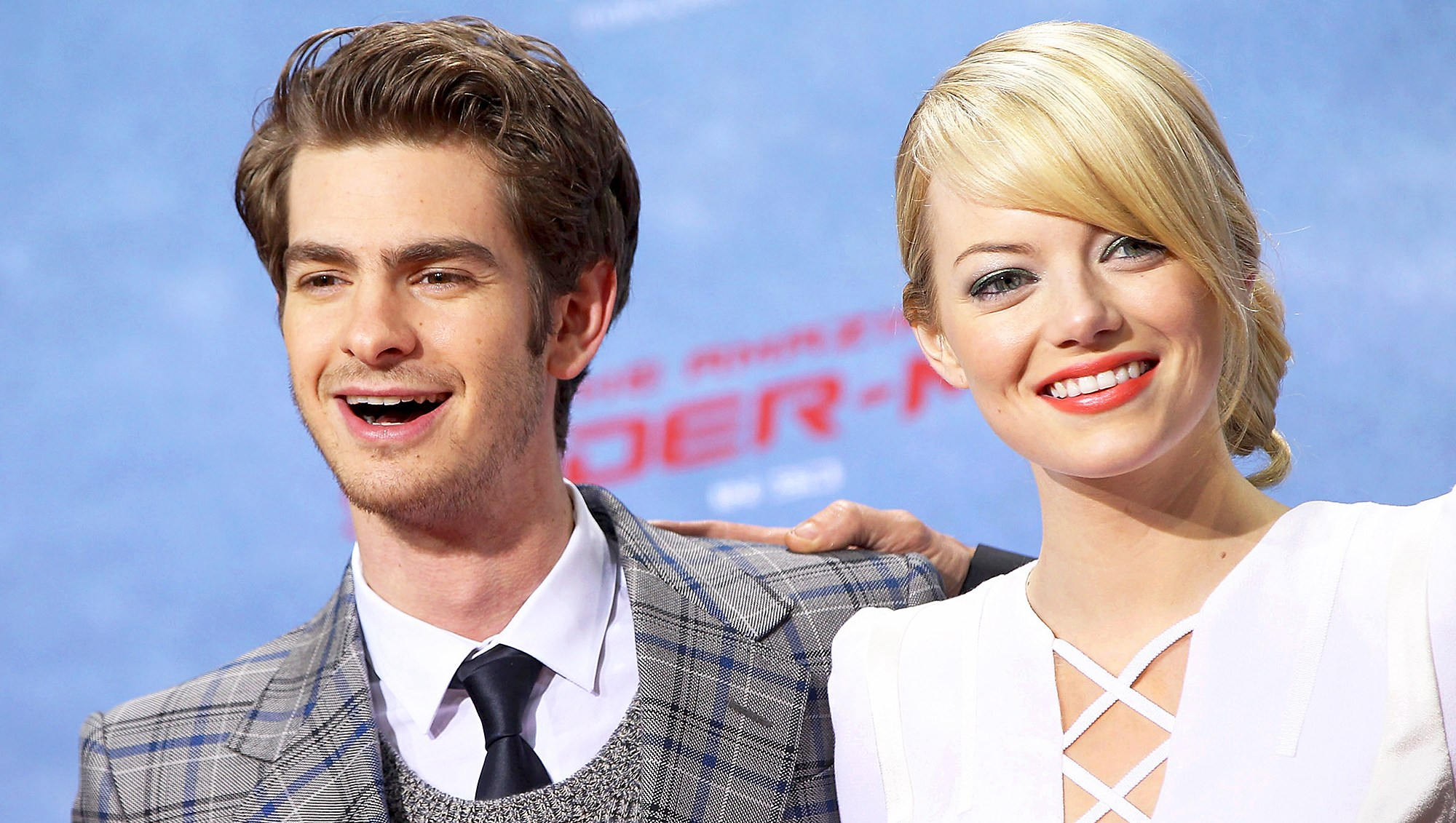 "Andrew Garfield and Emma Stone attend the premiere of ""The Amazing Spider-Man"" at Sony Center on June 20, 2012 in Berlin, Germany."
