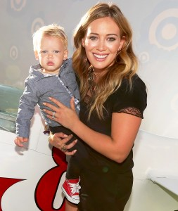 """Hilary Duff and her son Luca explore the Target Landing Zone at the world premiere of """"Disney's Planes"""" at the El Capitan Theatre on August 5, 2013 in Hollywood, California."""