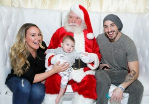 Haylie Duff and Matt Rosenberg with their daughter Ryan attend at 2015 Santa's Secret Workshop Benefiting L.A. Family Housing at Andaz Hotel in Los Angeles, California.