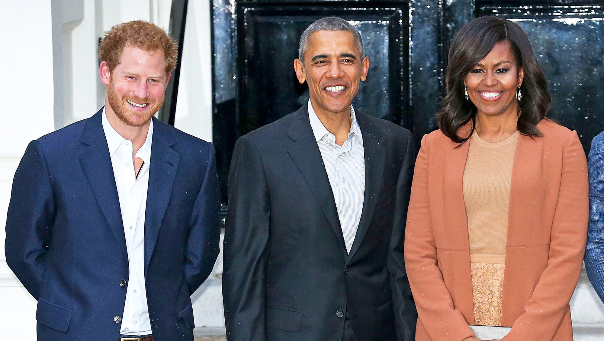 Prince Harry, Barack Obama and Michelle Obama attend a dinner at Kensington Palace on April 22, 2016 in London, England.