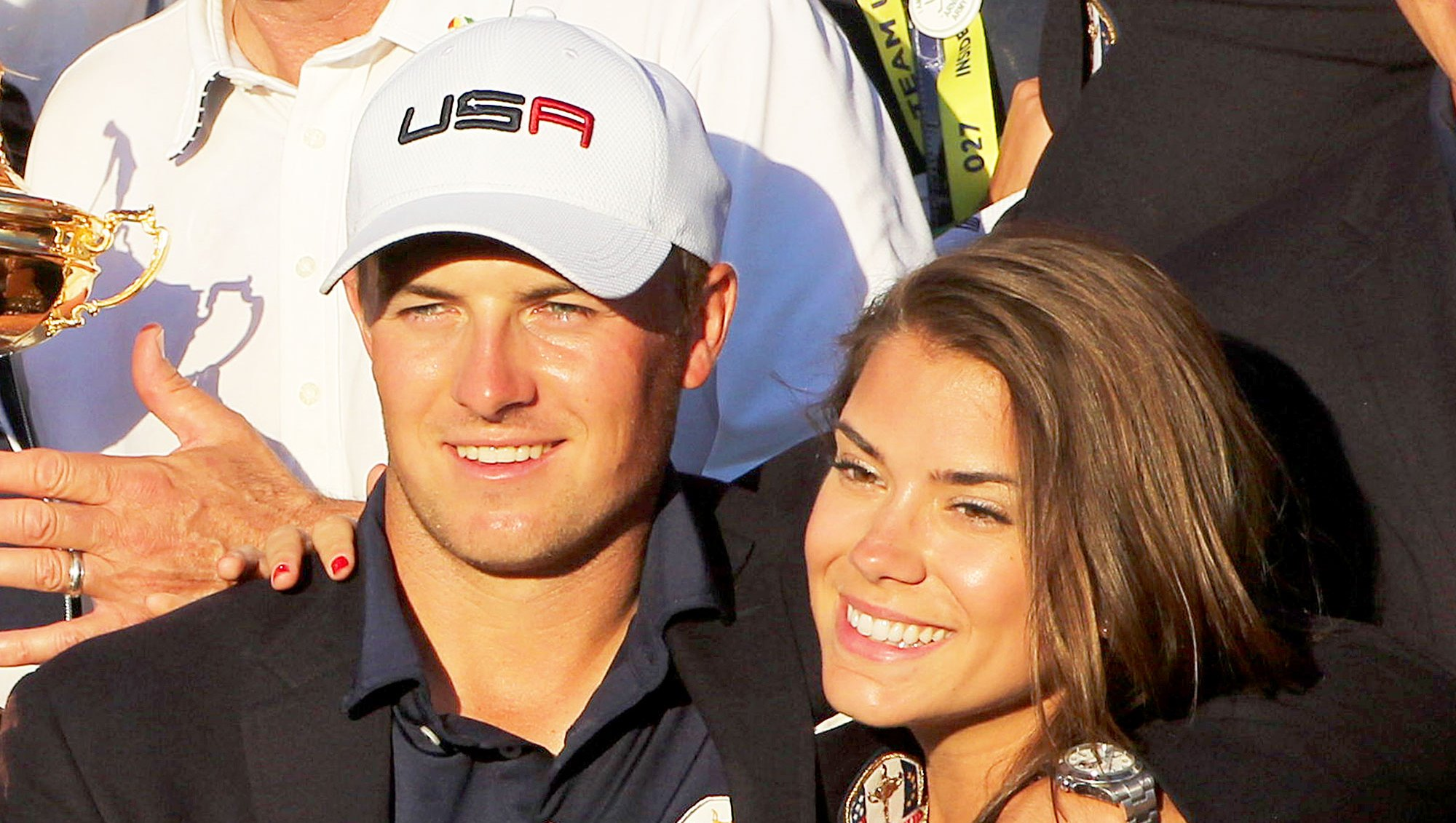 Jordan Spieth and Annie Verret celebrate with the Ryder Cup after the United States victory in the Ryder Cup tournament at Hazeltine National Golf Club on October 02, 2016 in Chaska, Minnesota.