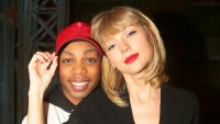 """Todrick Hall and Taylor Swift pose backstage at the musical """"Kinky Boots"""" on Broadway at The Al Hirschfeld Theater on November 23, 2016 in New York City."""