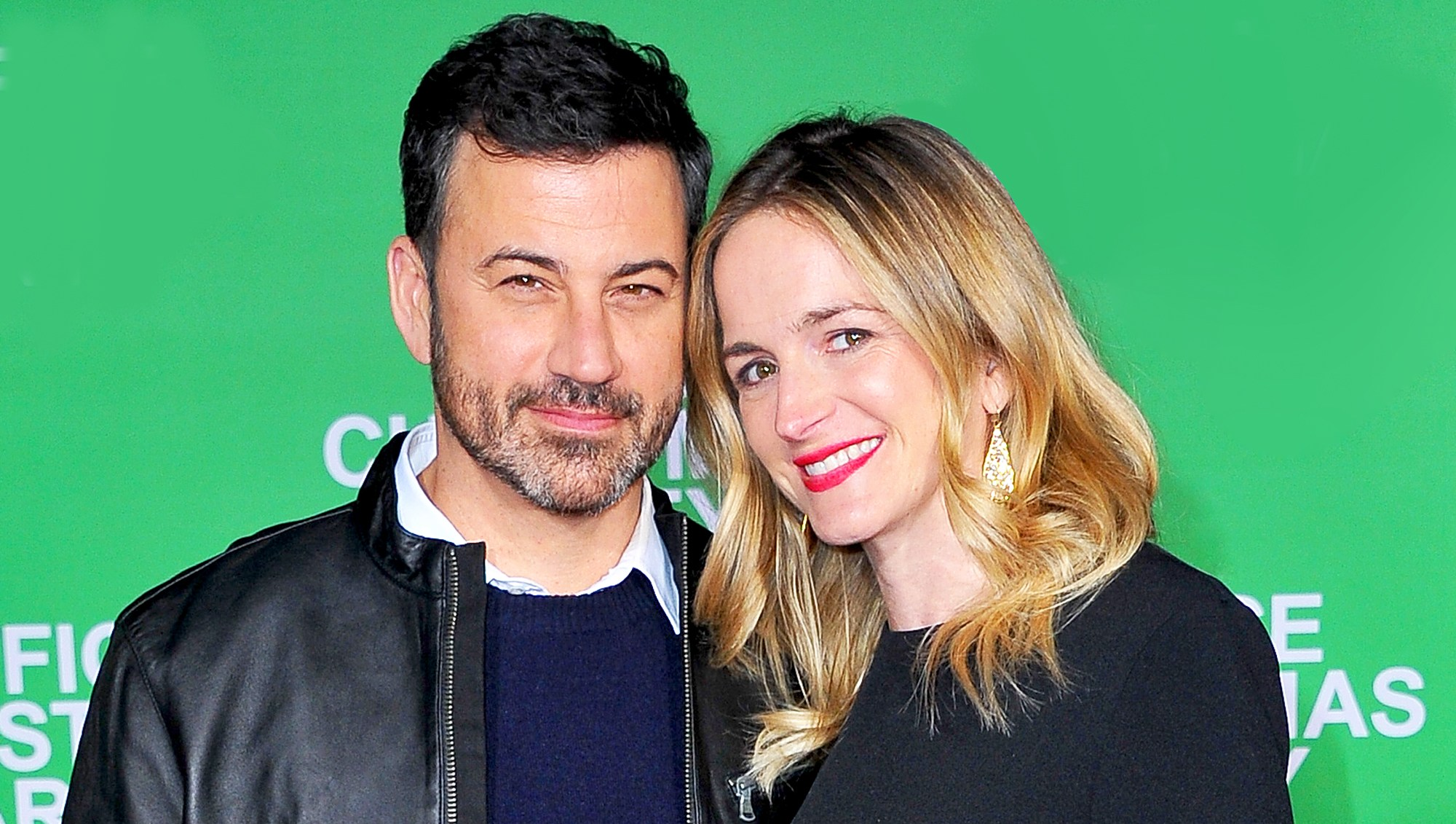 "Jimmy Kimmel and wife Molly McNearney attend the premiere of ""Office Christmas Party"" at Regency Village Theatre in Westwood, California."